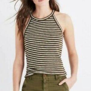 Madewell Time Out Green Striped Tank Top Women's S